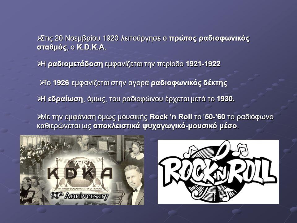 Στις 20 Νοεμβρίου 1920 λειτούργησε ο πρώτος ραδιοφωνικός σταθμός, ο K