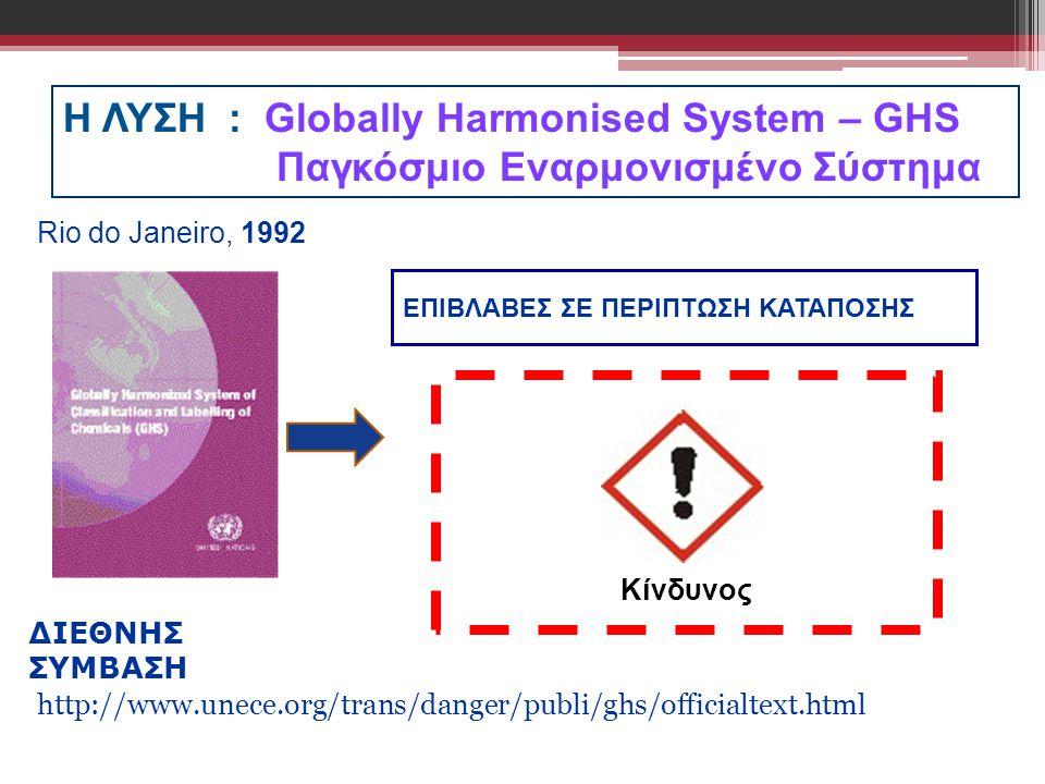 Rio do Janeiro, 1992 Η ΛΥΣΗ : Globally Harmonised System – GHS Παγκόσμιο Εναρμονισμένο Σύστημα.
