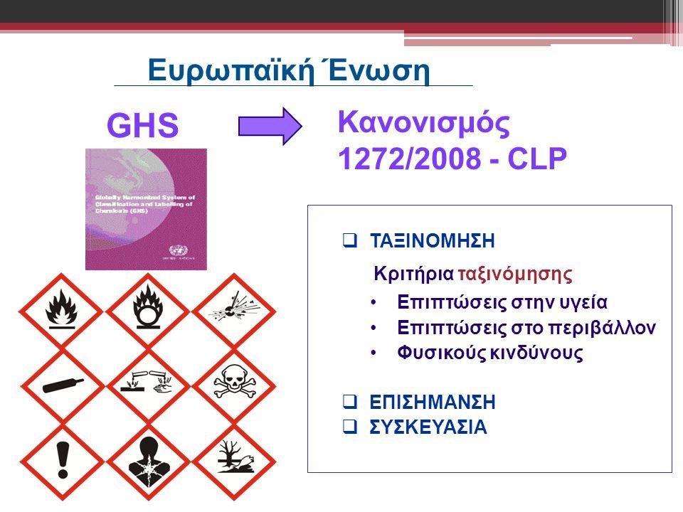 Ευρωπαϊκή Ένωση GHS Κανονισμός 1272/2008 - CLP ΤΑΞΙΝΟΜΗΣΗ