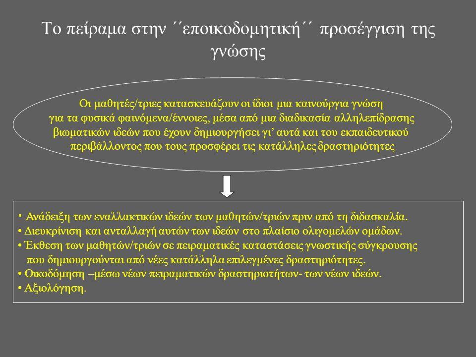 Το πείραμα στην ΄΄εποικοδομητική΄΄ προσέγγιση της γνώσης