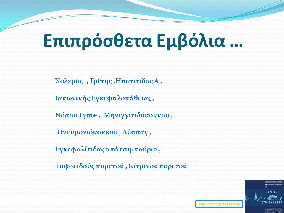 Επιπρόσθετα Εμβόλια … Χολέρας , Γρίπης ,Ηπατίτιδας Α ,