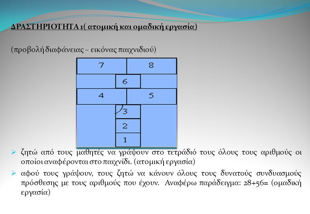 ΔΡΑΣΤΗΡΙΟΤΗΤΑ 1( ατομική και ομαδική εργασία)