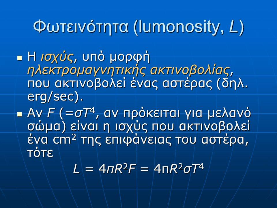 Φωτεινότητα (lumonosity, L)