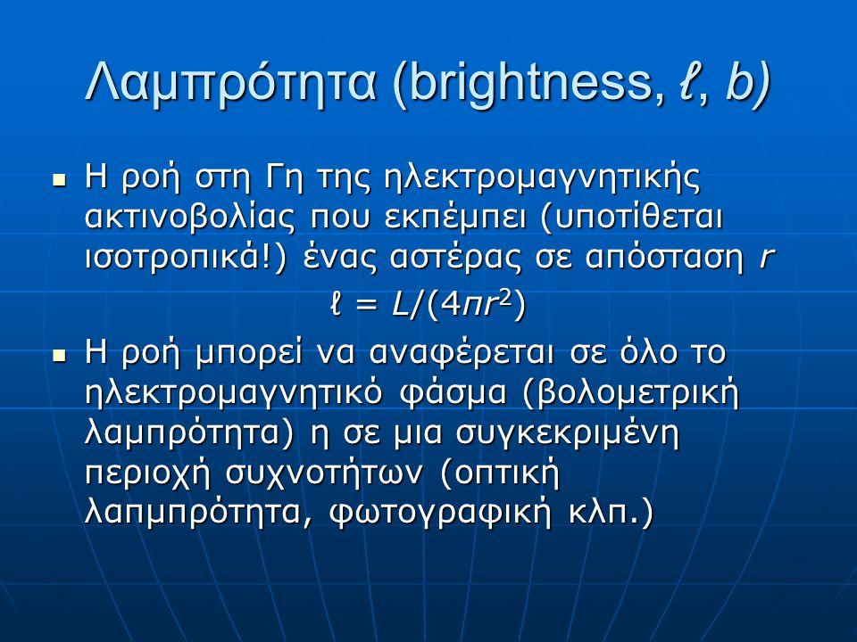 Λαμπρότητα (brightness, ℓ, b)