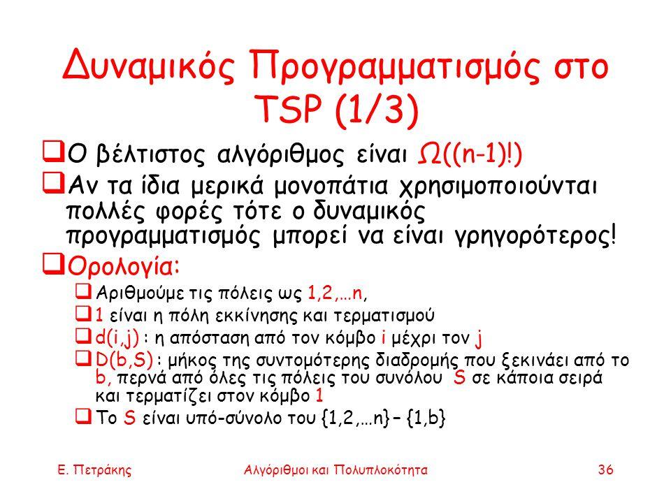 Δυναμικός Προγραμματισμός στο TSP (1/3)