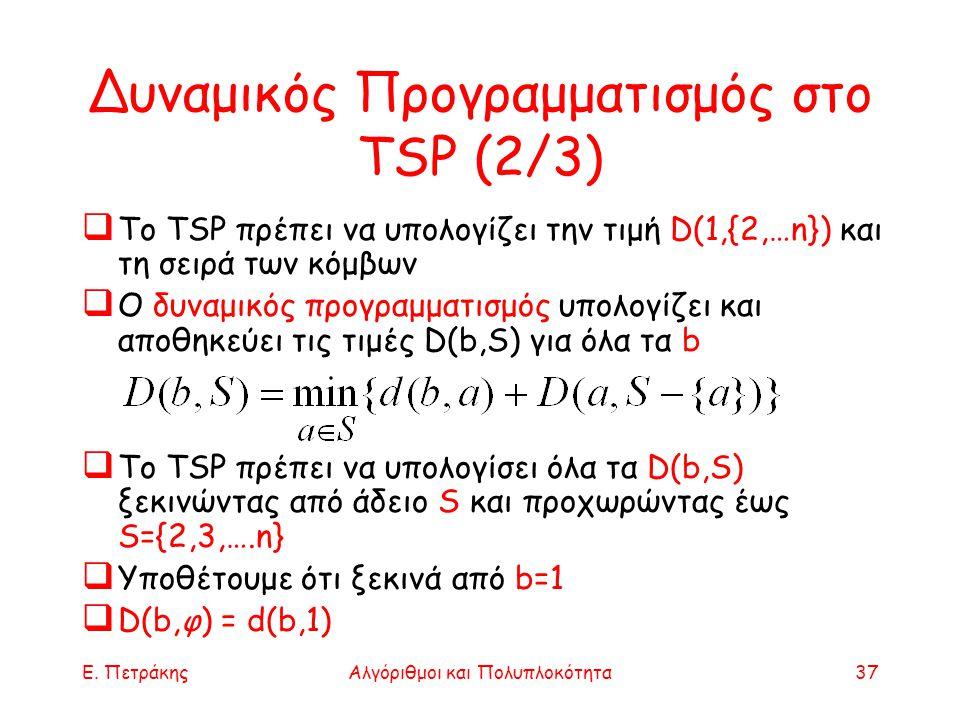 Δυναμικός Προγραμματισμός στο TSP (2/3)
