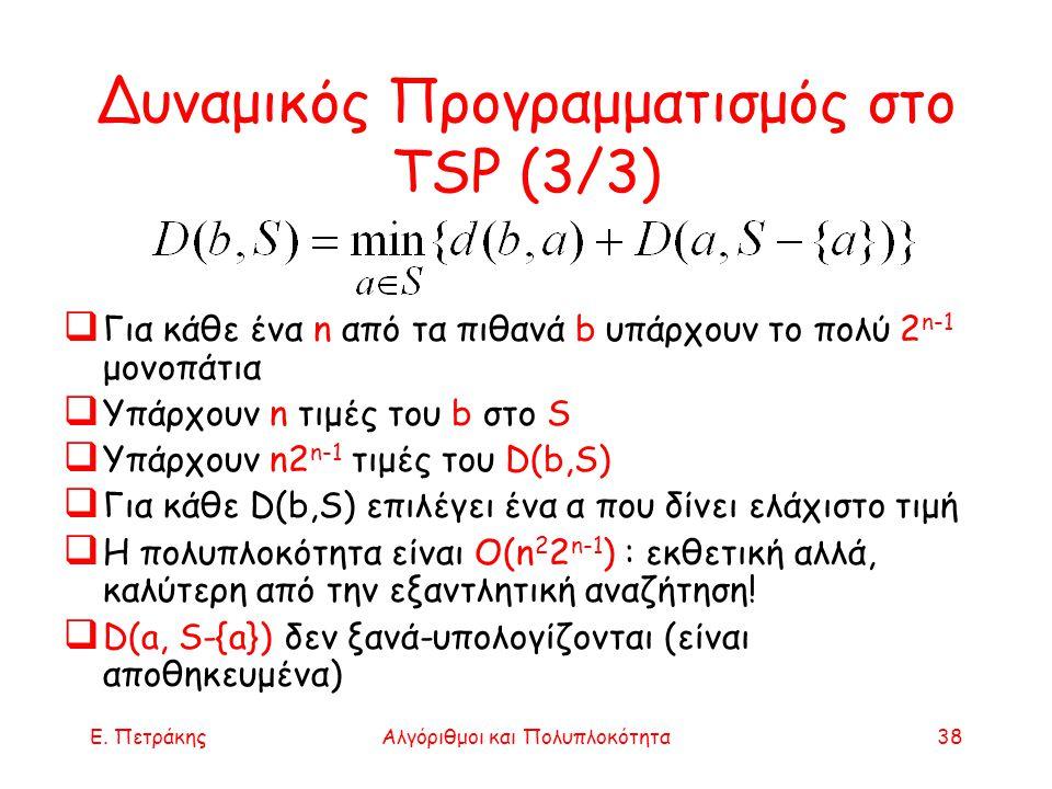 Δυναμικός Προγραμματισμός στο TSP (3/3)