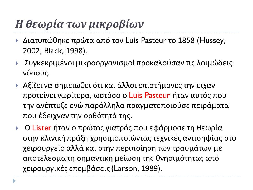 Η θεωρία των μικροβίων Διατυπώθηκε πρώτα από τον Luis Pasteur το 1858 (Hussey, 2002; Black, 1998).