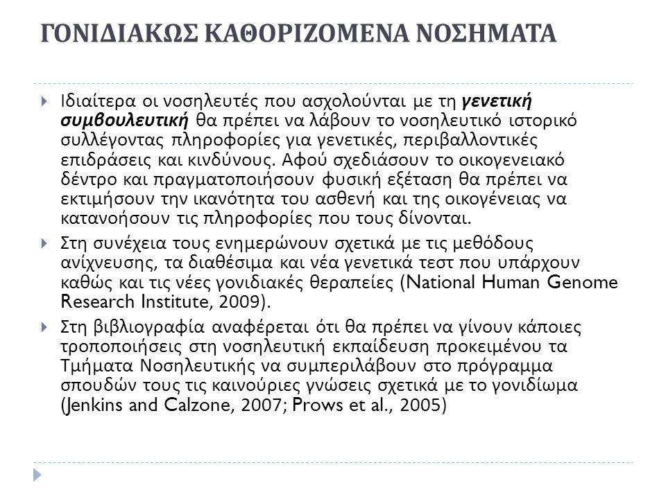 ΓΟΝΙΔΙΑΚΩΣ ΚΑΘΟΡΙΖΟΜΕΝΑ ΝΟΣΗΜΑΤΑ