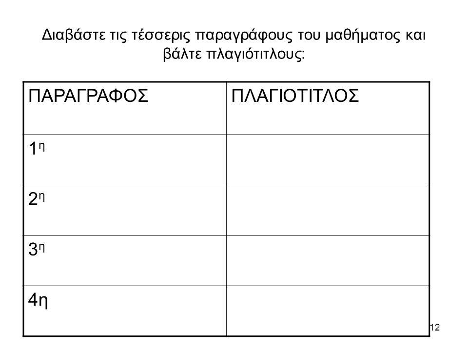 ΠΑΡΑΓΡΑΦΟΣ ΠΛΑΓΙΟΤΙΤΛΟΣ 1η 2η 3η 4η