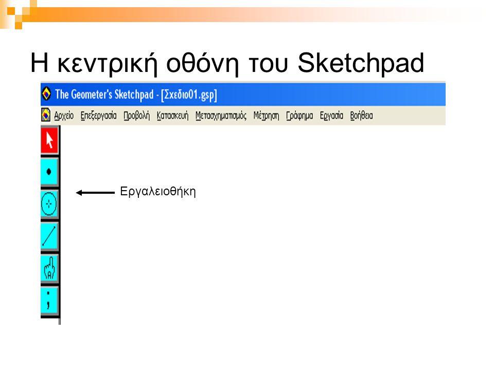 Η κεντρική οθόνη του Sketchpad