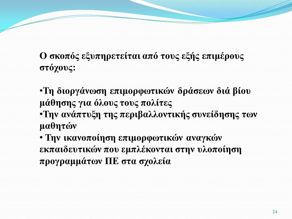 Ο σκοπός εξυπηρετείται από τους εξής επιμέρους στόχους:
