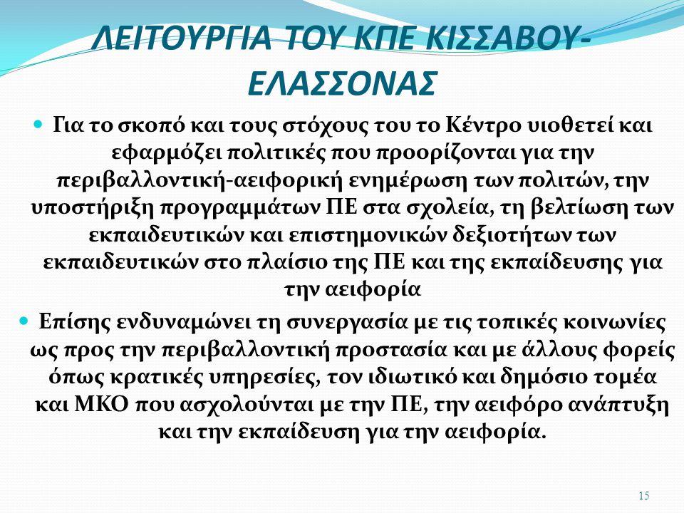 ΛΕΙΤΟΥΡΓΙΑ ΤΟΥ ΚΠΕ ΚΙΣΣΑΒΟΥ-ΕΛΑΣΣΟΝΑΣ