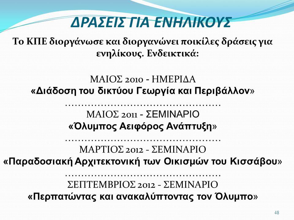 ΔΡΑΣΕΙΣ ΓΙΑ ΕΝΗΛΙΚΟΥΣ