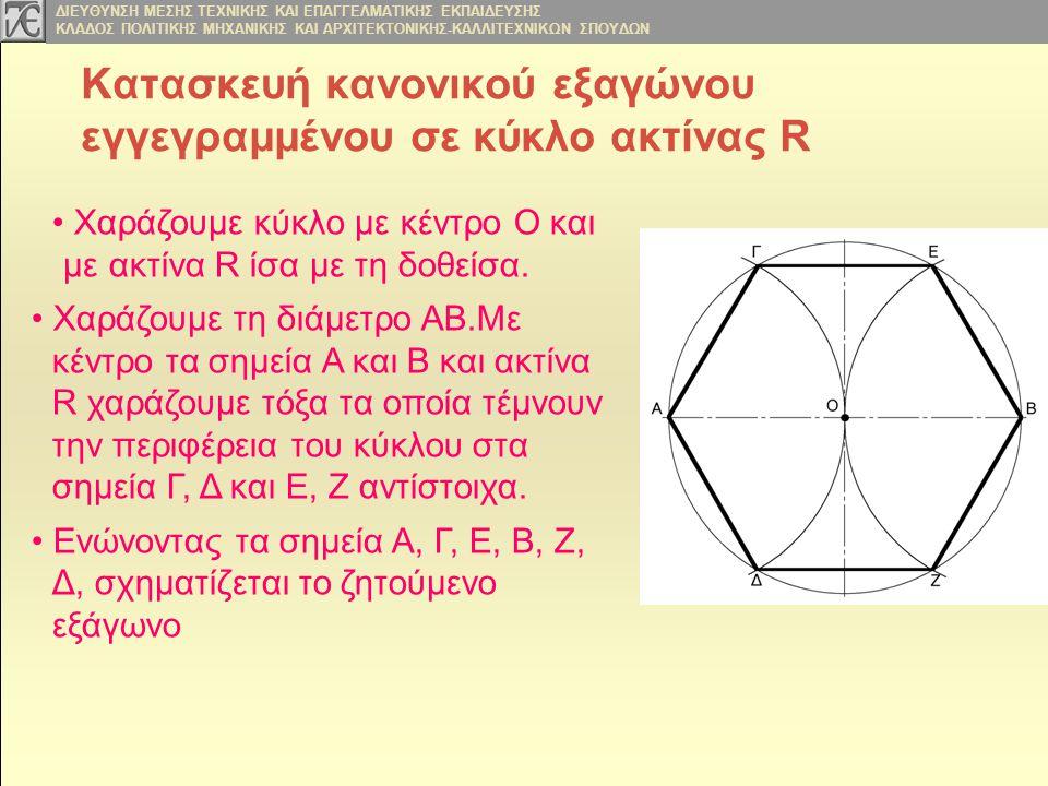 Κατασκευή κανονικού εξαγώνου εγγεγραμμένου σε κύκλο ακτίνας R