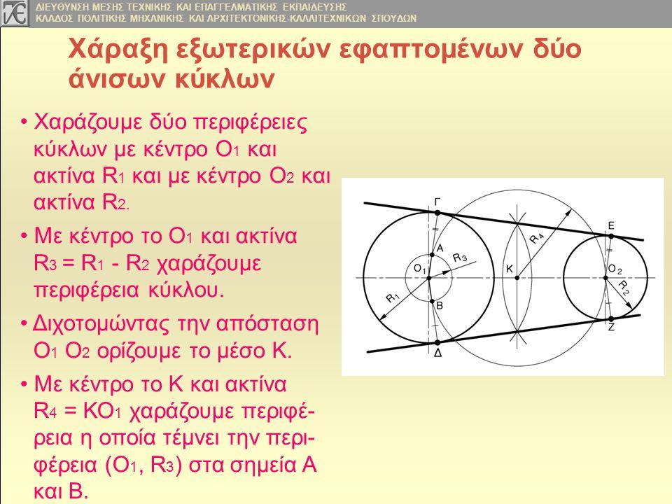 Χάραξη εξωτερικών εφαπτομένων δύο άνισων κύκλων