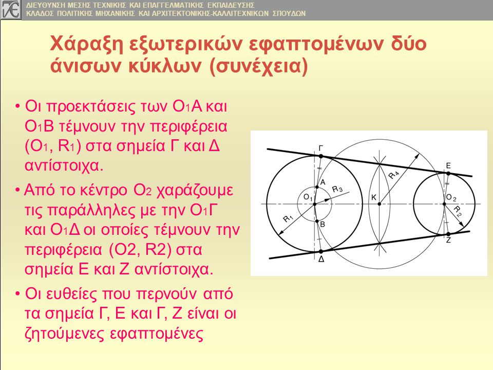Χάραξη εξωτερικών εφαπτομένων δύο άνισων κύκλων (συνέχεια)