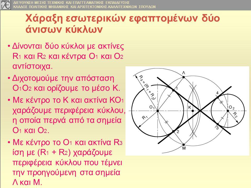 Χάραξη εσωτερικών εφαπτομένων δύο άνισων κύκλων