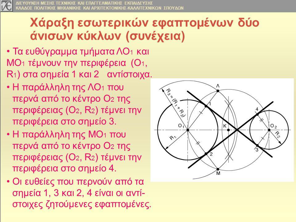 Χάραξη εσωτερικών εφαπτομένων δύο άνισων κύκλων (συνέχεια)