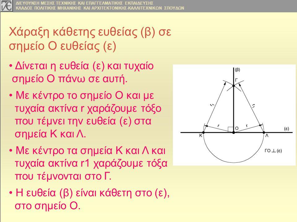 Χάραξη κάθετης ευθείας (β) σε σημείο Ο ευθείας (ε)