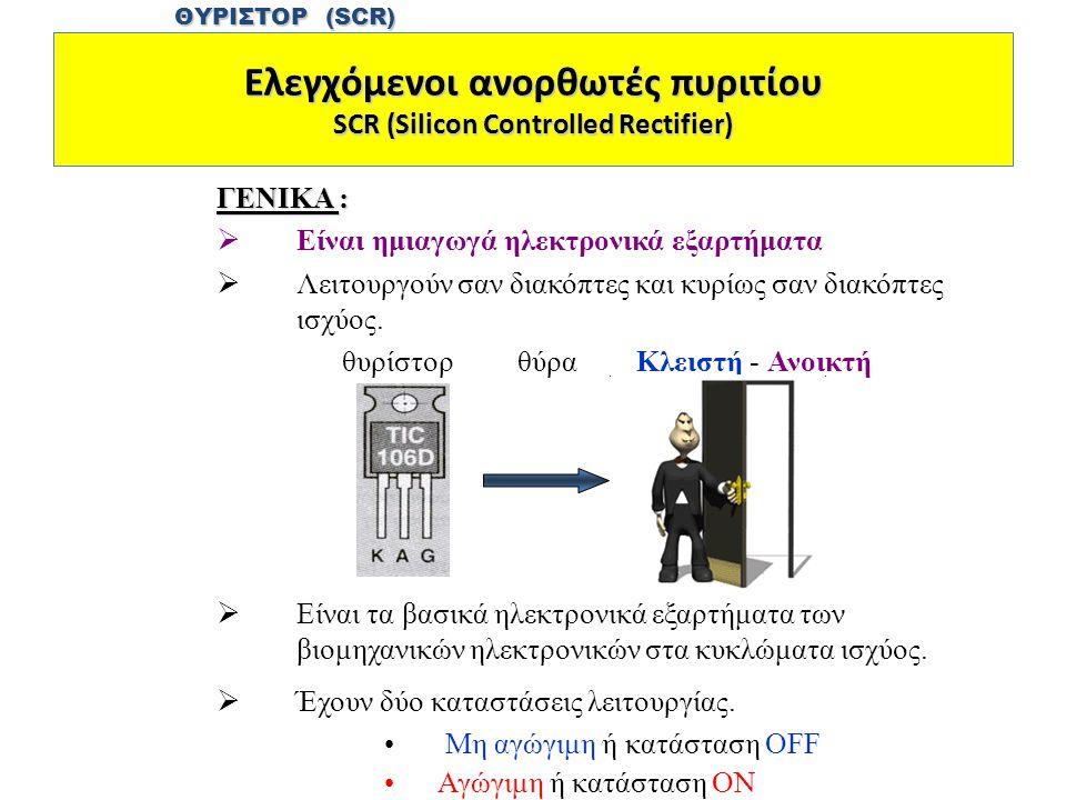 Ελεγχόμενοι ανορθωτές πυριτίου SCR (Silicon Controlled Rectifier)