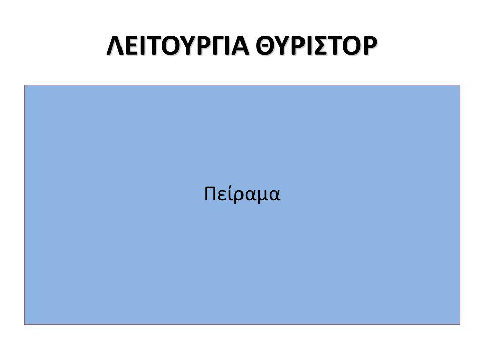 ΛΕΙΤΟΥΡΓΙΑ ΘΥΡΙΣΤΟΡ Πείραμα