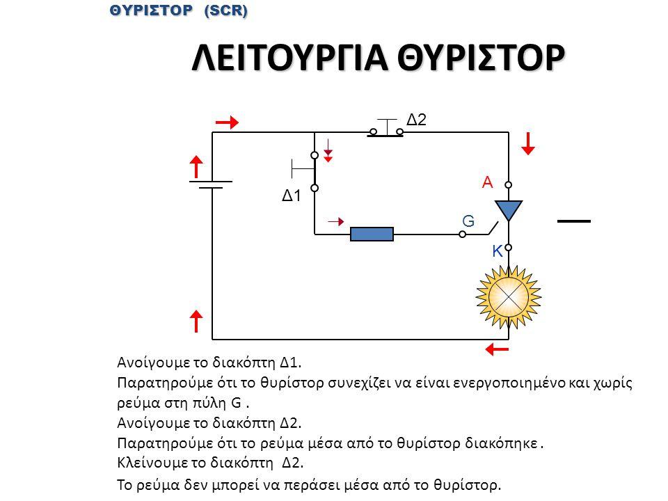 ΛΕΙΤΟΥΡΓΙΑ ΘΥΡΙΣΤΟΡ Δ2 Α Δ1 G Κ Ανοίγουμε το διακόπτη Δ1.