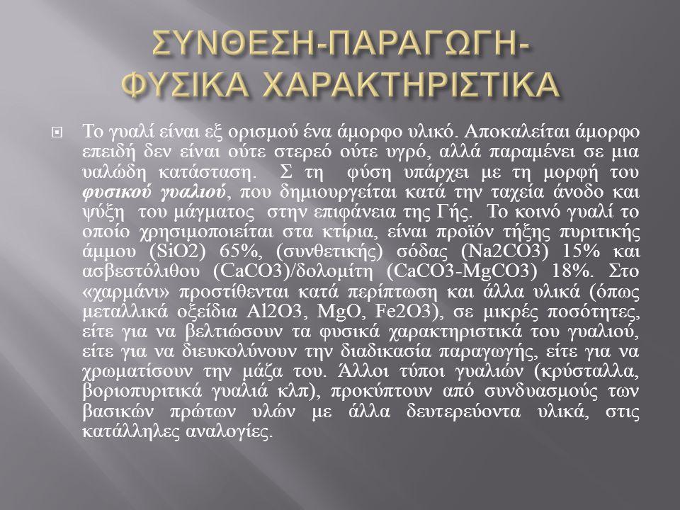 ΣΥΝΘΕΣΗ-ΠΑΡΑΓΩΓΗ- ΦΥΣΙΚΑ ΧΑΡΑΚΤΗΡΙΣΤΙΚΑ