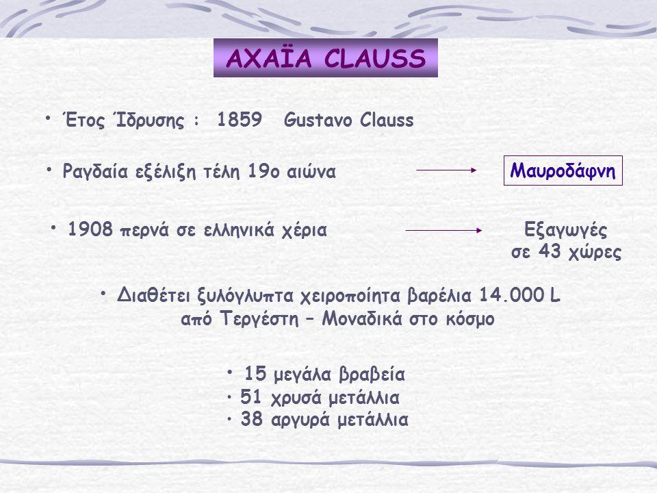 AΧΑΪA CLAUSS Έτος Ίδρυσης : 1859 Gustavo Clauss