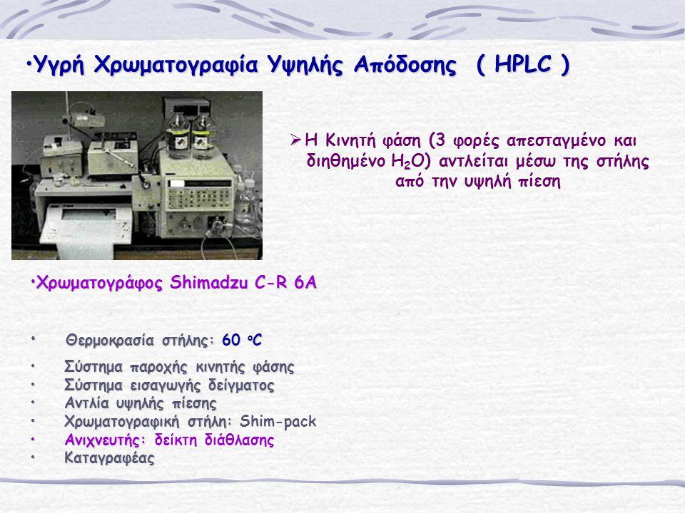 Υγρή Χρωματογραφία Υψηλής Απόδοσης ( HPLC )