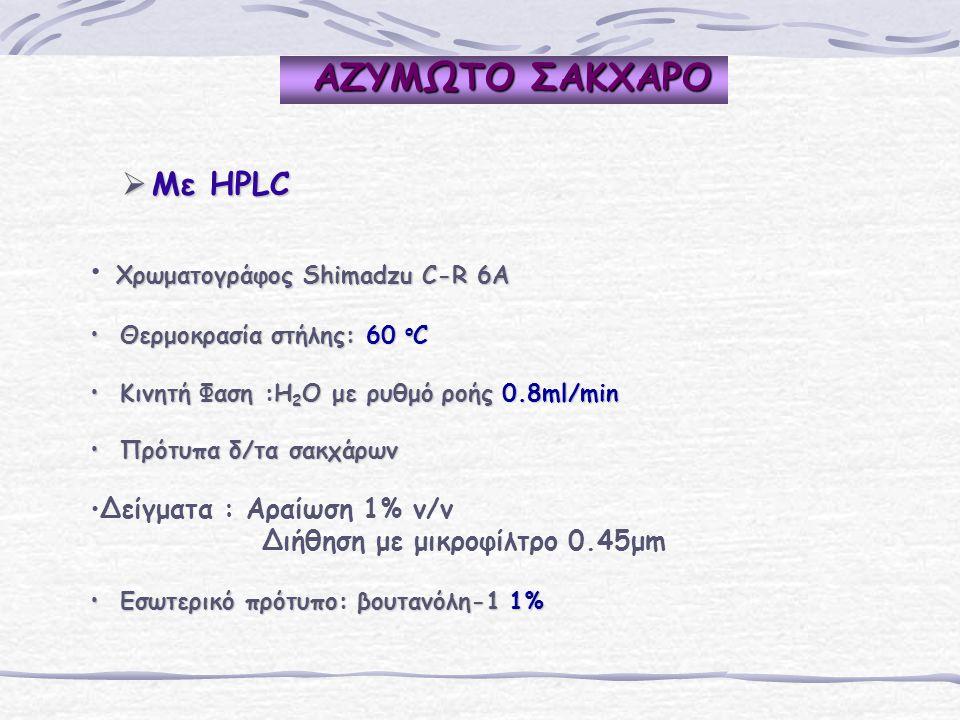 ΑΖΥΜΩΤΟ ΣΑΚΧΑΡΟ Mε HPLC Χρωματογράφος Shimadzu C-R 6A