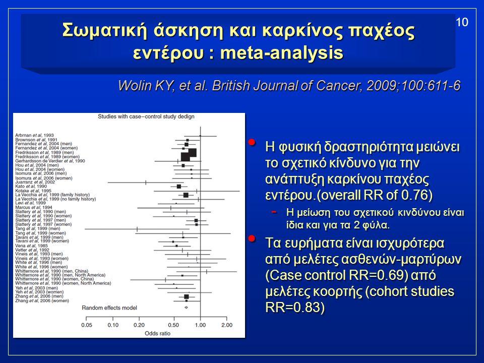 Σωματική άσκηση και καρκίνος παχέος εντέρου : meta-analysis