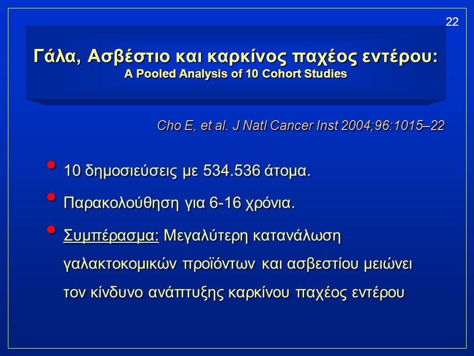 Γάλα, Ασβέστιο και καρκίνος παχέος εντέρου: A Pooled Analysis of 10 Cohort Studies