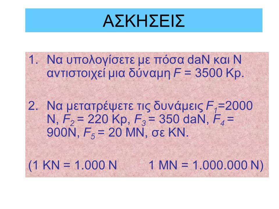 ΑΣΚΗΣΕΙΣ Να υπολογίσετε με πόσα daN και N αντιστοιχεί μια δύναμη F = 3500 Kp.