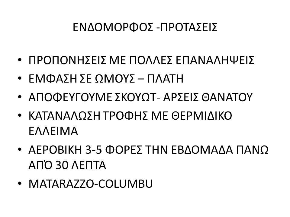 EΝΔΟΜΟΡΦΟΣ -ΠΡΟΤΑΣΕΙΣ