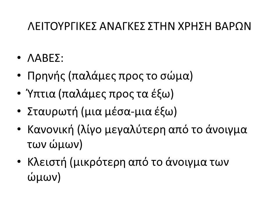 ΛΕΙΤΟΥΡΓΙΚΕΣ ΑΝΑΓΚΕΣ ΣΤΗΝ ΧΡΗΣΗ ΒΑΡΩΝ