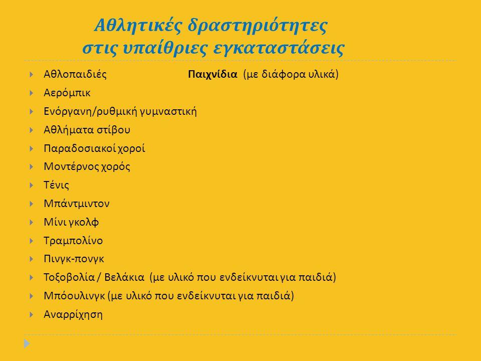 Αθλητικές δραστηριότητες στις υπαίθριες εγκαταστάσεις