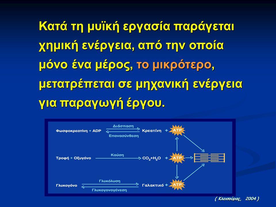 Κατά τη μυϊκή εργασία παράγεται χημική ενέργεια, από την οποία μόνο ένα μέρος, το μικρότερο, μετατρέπεται σε μηχανική ενέργεια για παραγωγή έργου.