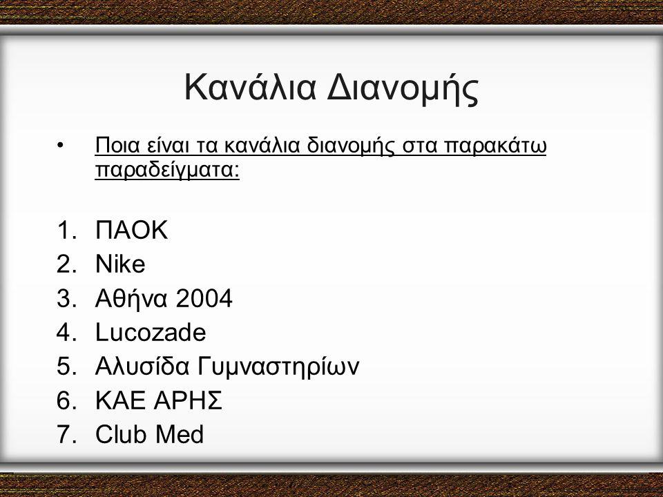 Κανάλια Διανομής ΠΑΟΚ Nike Αθήνα 2004 Lucozade Αλυσίδα Γυμναστηρίων