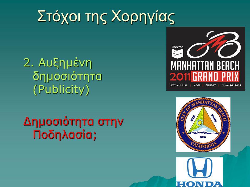 Στόχοι της Χορηγίας 2. Αυξημένη δημοσιότητα (Publicity)