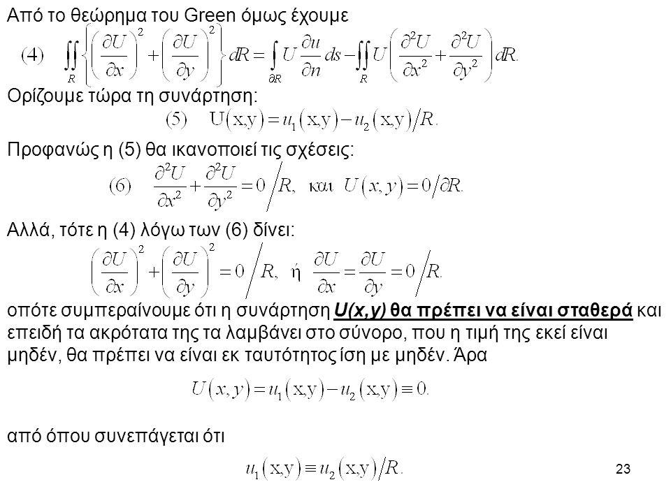 Από το θεώρημα του Green όμως έχουμε