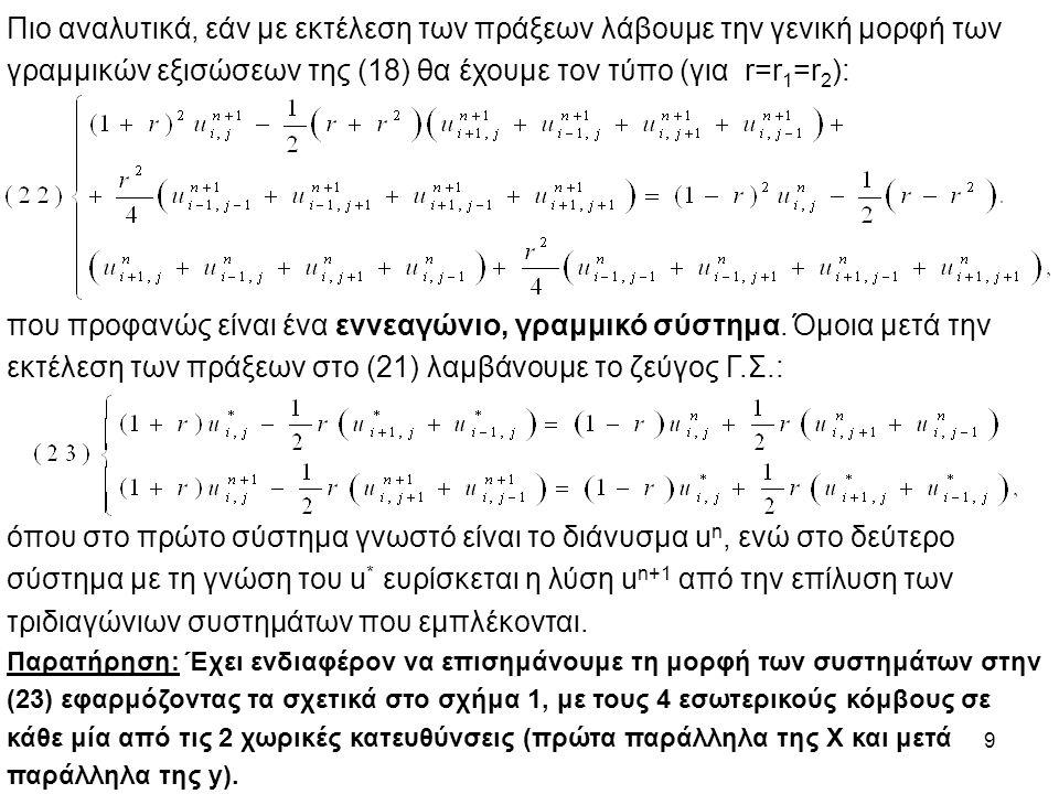 γραμμικών εξισώσεων της (18) θα έχουμε τον τύπο (για r=r1=r2):