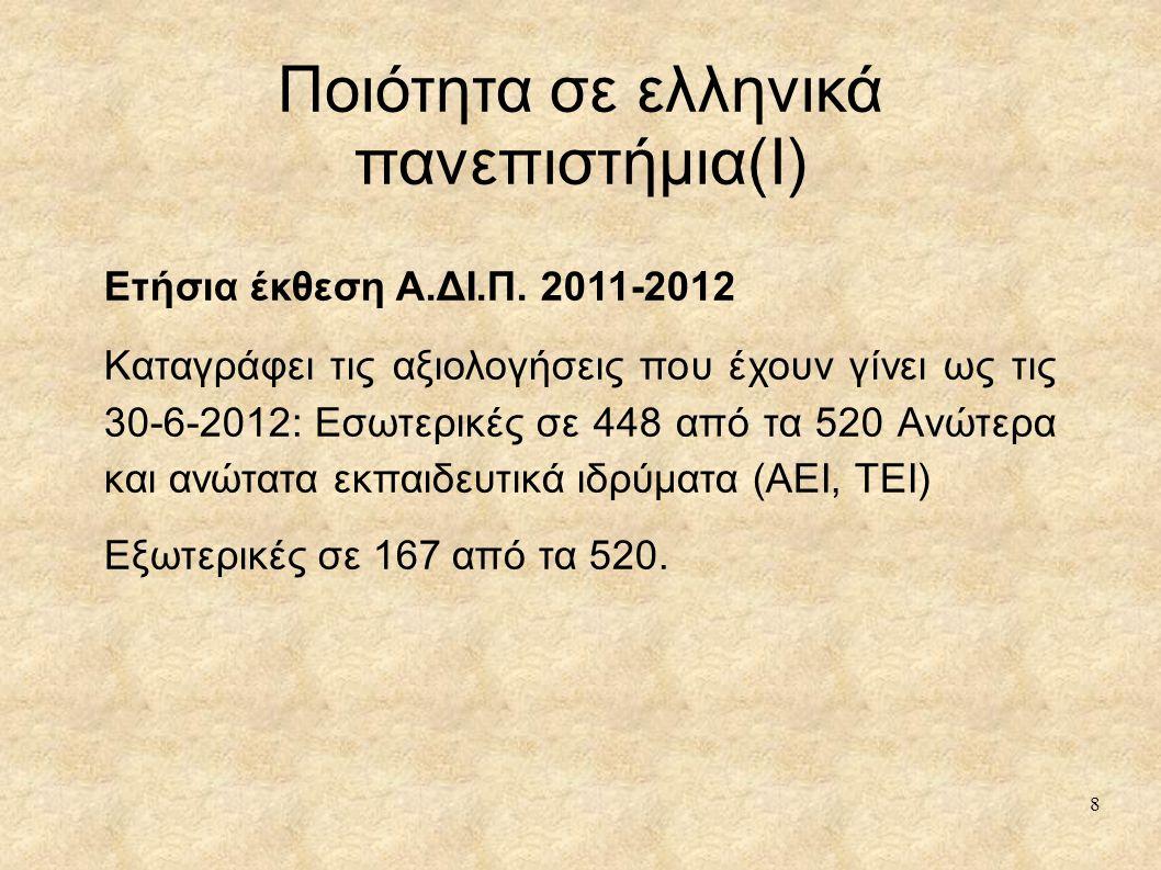 Ποιότητα σε ελληνικά πανεπιστήμια(I)