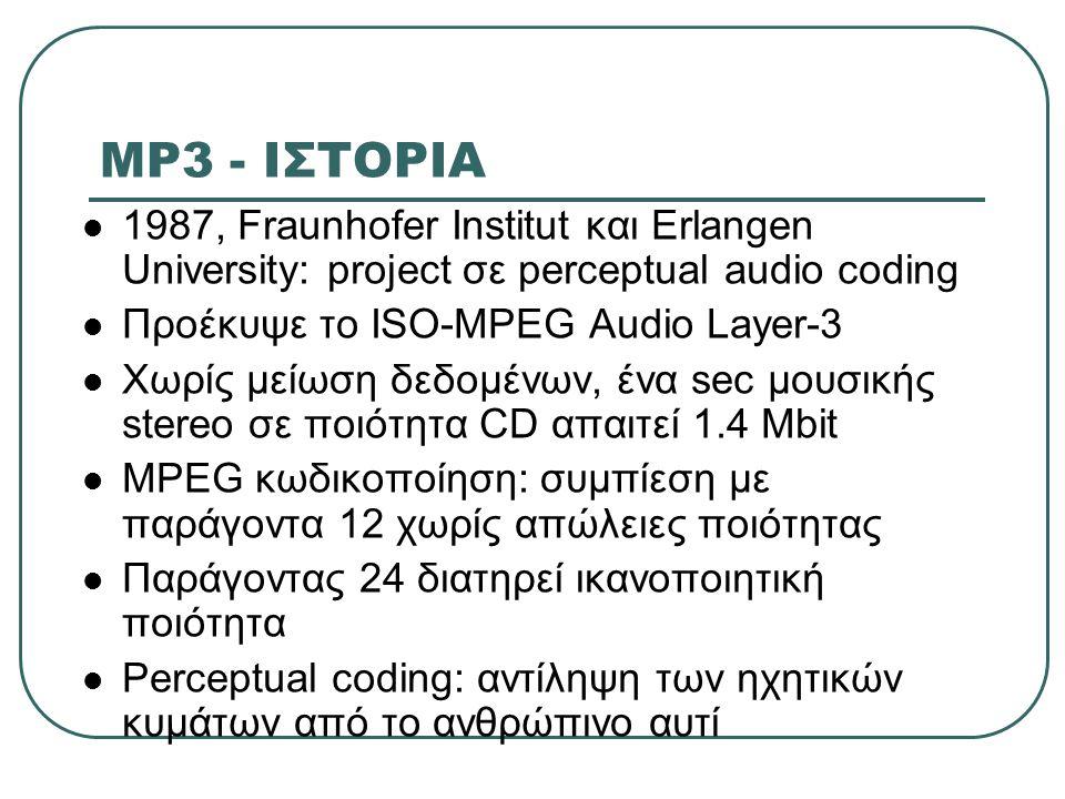 MP3 - ΙΣΤΟΡΙΑ 1987, Fraunhofer Institut και Erlangen University: project σε perceptual audio coding.