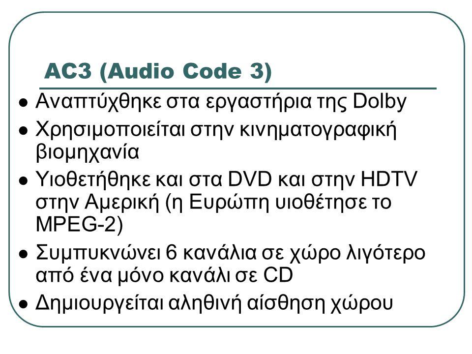 AC3 (Audio Code 3) Αναπτύχθηκε στα εργαστήρια της Dolby