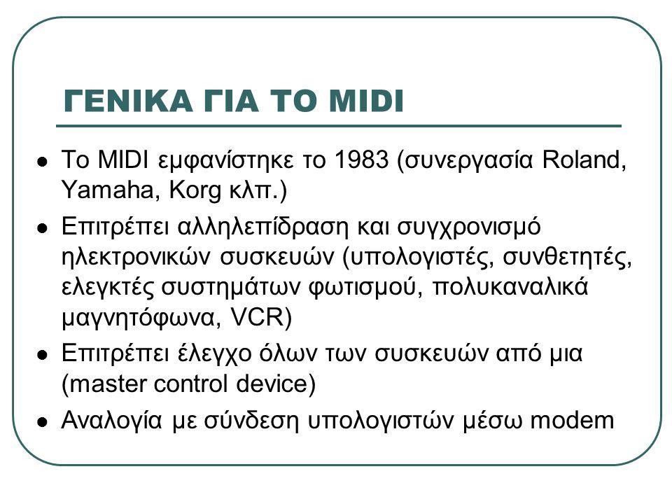 ΓΕΝΙΚΑ ΓΙΑ ΤΟ MIDI Το MIDI εμφανίστηκε το 1983 (συνεργασία Roland, Yamaha, Korg κλπ.)