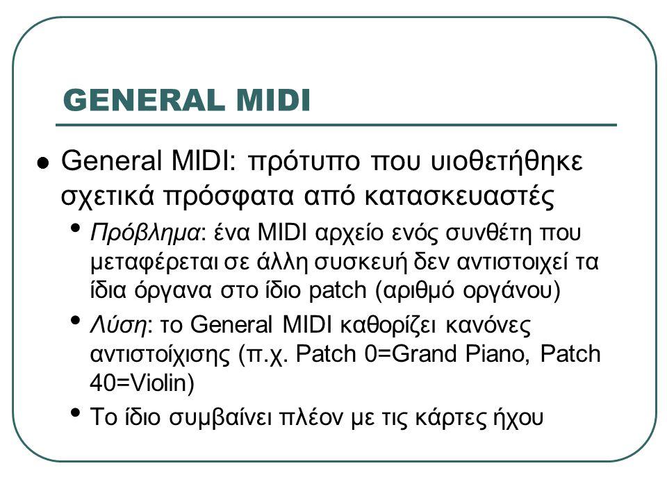 GENERAL MIDI General MIDI: πρότυπο που υιοθετήθηκε σχετικά πρόσφατα από κατασκευαστές.