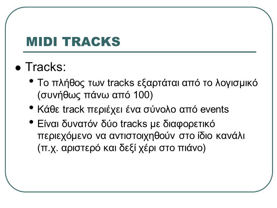 MIDI TRACKS Tracks: Το πλήθος των tracks εξαρτάται από το λογισμικό (συνήθως πάνω από 100) Κάθε track περιέχει ένα σύνολο από events.