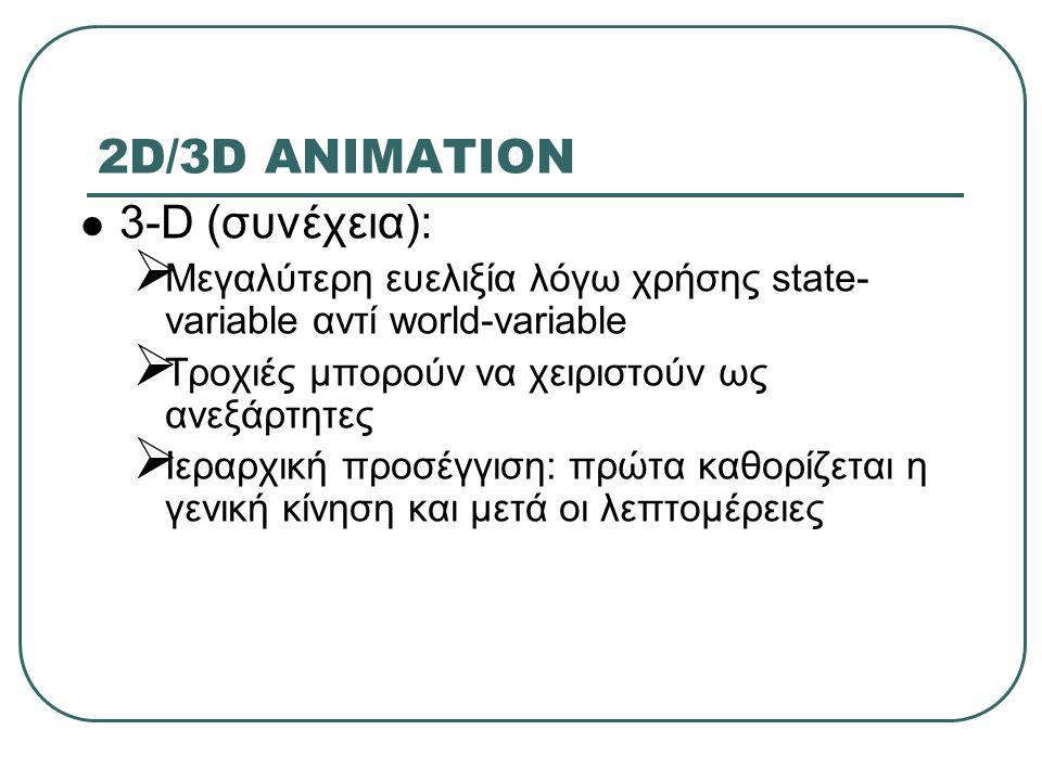 2D/3D ANIMATION 3-D (συνέχεια):