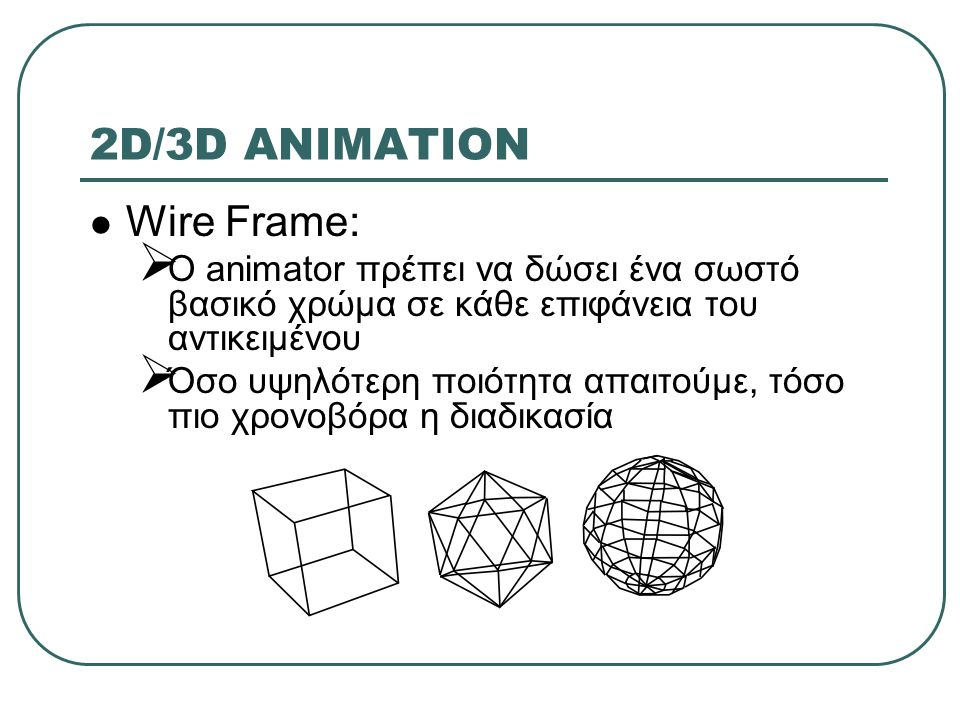 2D/3D ANIMATION Wire Frame: